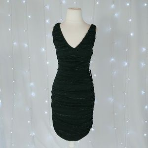 Express Black Ruched Lace Fitted Mini Dress